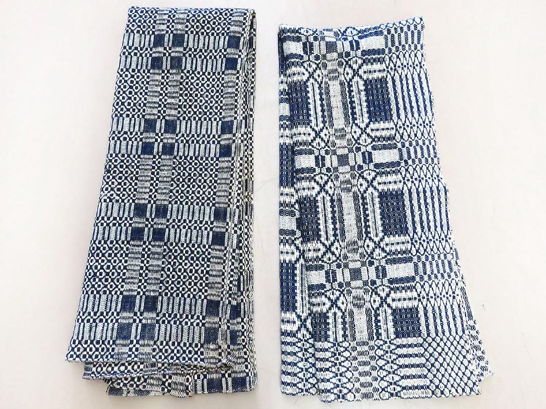 (2) COUNTRY BLUE/WHITE COVERLETS C. 1830/40