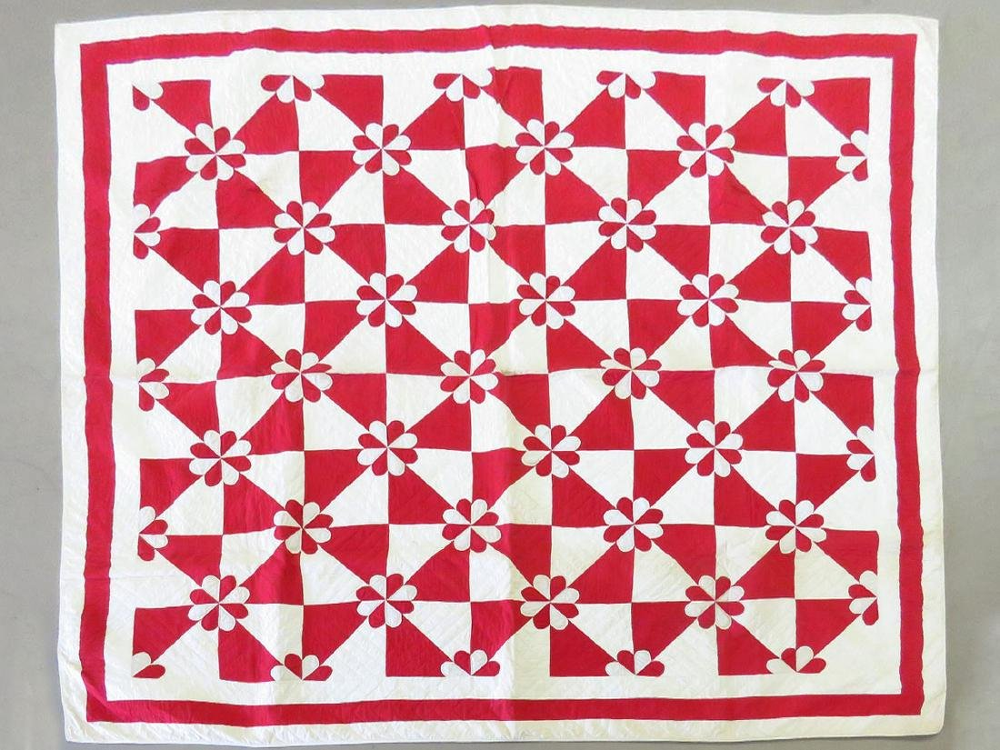 COUNTRY RED/WHITE HAND STITCHED QUILT 19/20TH C.