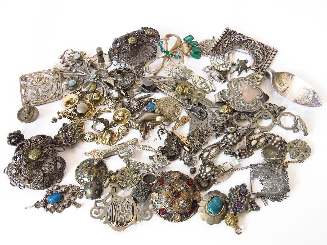 LOT VICTORIAN/ART DECO SILVER/PINS INCL. STERLING 19/20