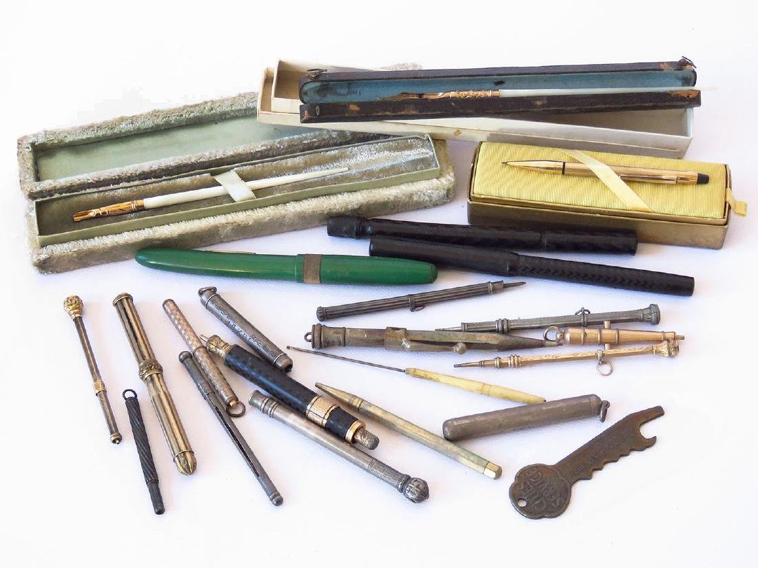 LOT ASSORTED VICTORIAN/ART DECO FOUNTAIN PENS 19/20TH