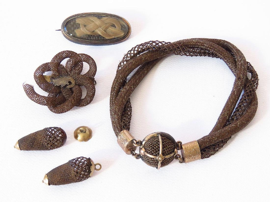 VICTORIAN HAIR JEWELRY, INCL. BRACELET, BROOCH & PARTS