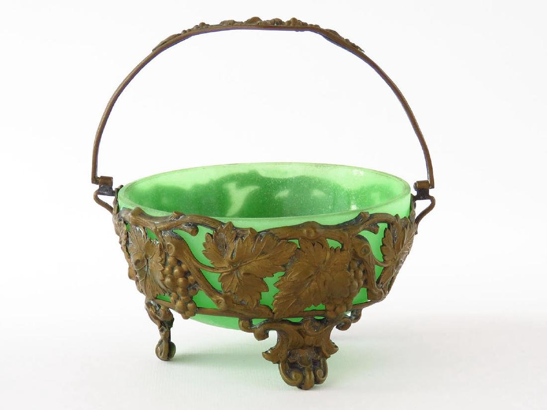 FRENCH BRONZE/ART GLASS BASKET 19TH C.