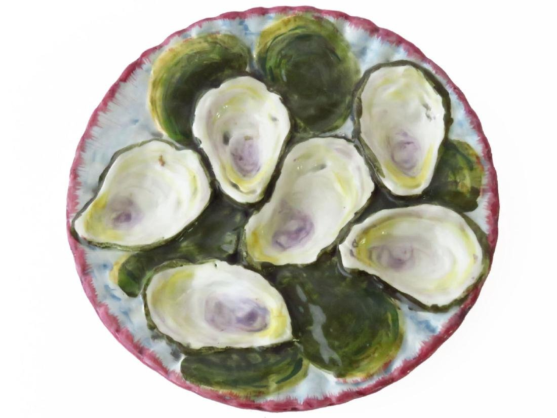 FRENCH MAJOLICA OYSTER PLATE 19TH C.