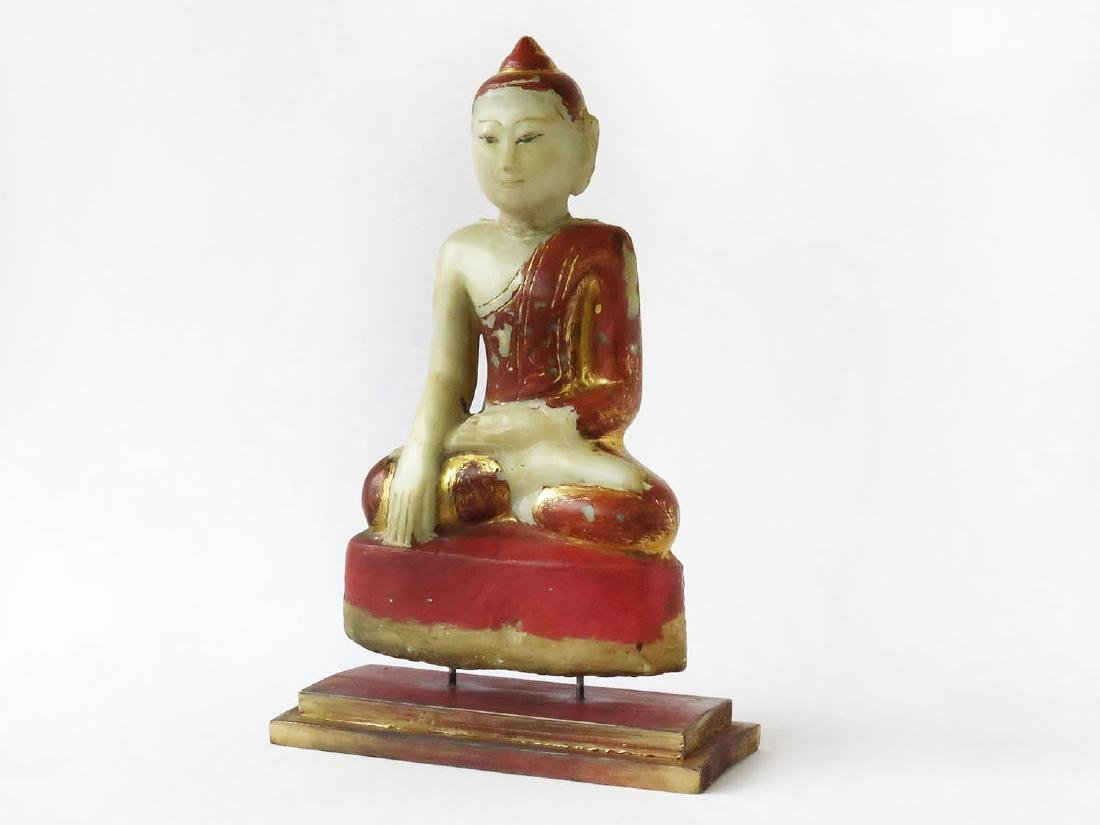 THAILAND CARVED/PAINTED ALABASTER BUDDHA 19TH C.