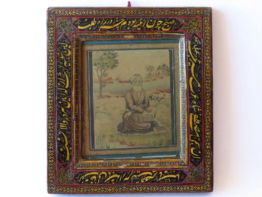 H/P INDIAN/PERSIAN WATERCOLOR/ FRAME 19TH C.