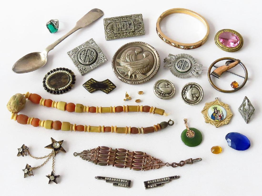 LOT ASSORTED JEWELRY INCL. MOURNING/FINDINGS