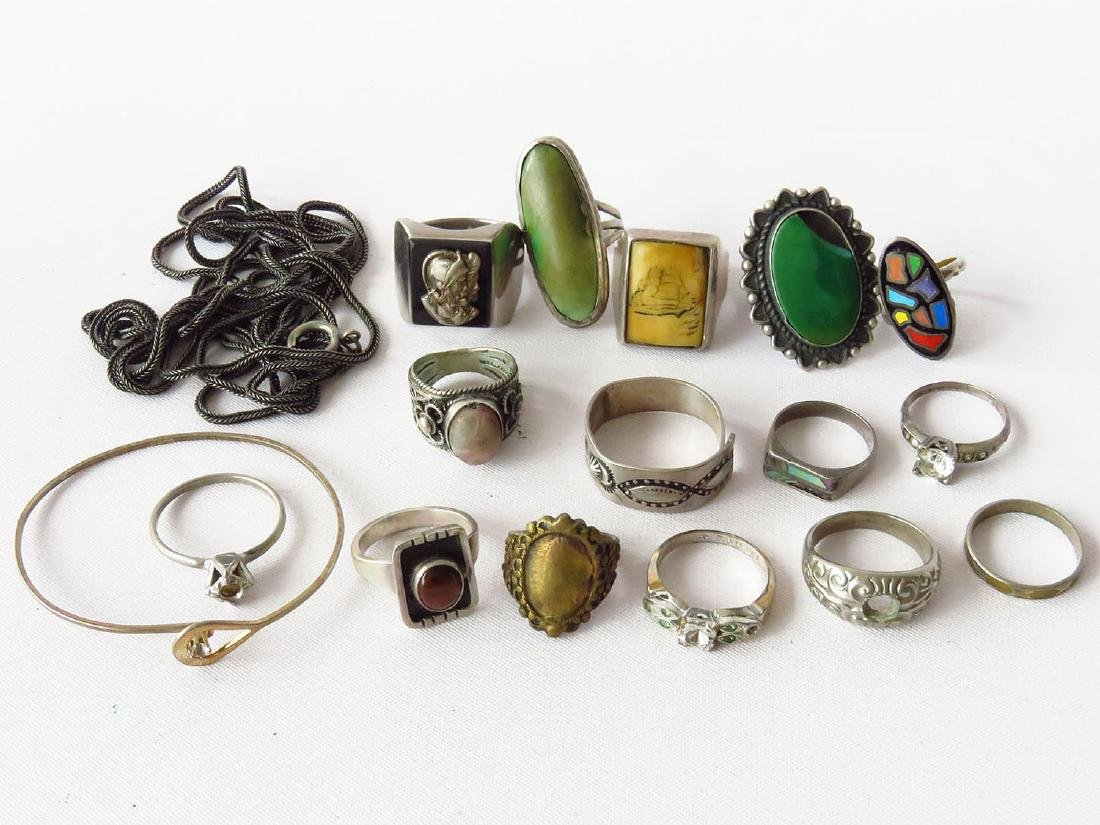 LOT VICTORIAN/ART DECO STERLING RINGS, ASSORTED SIZES
