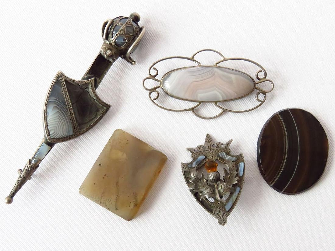 LOT STERLING/AGATE PINS/CABOCHANS INCL. (2) HALLMARKED