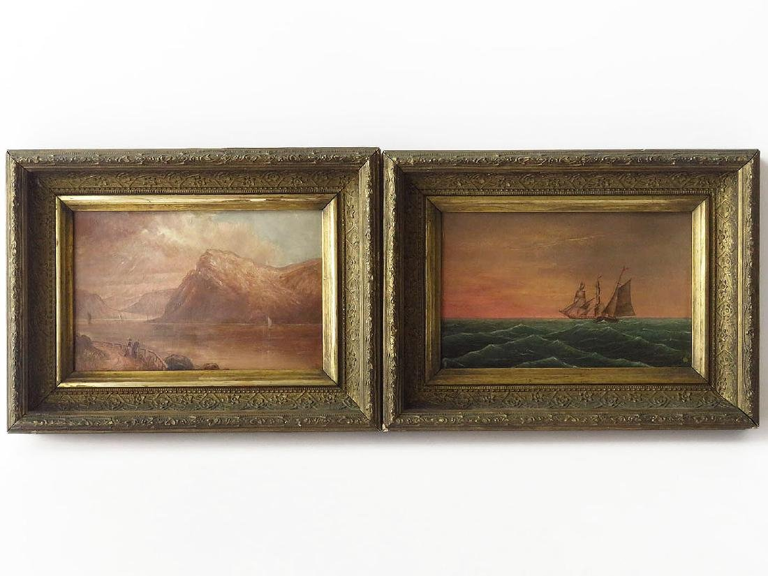 (2) O/P RIVER/SEASCAPE MONOGRAMMED T.S. 19TH C.