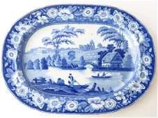ENGLISH STAFFORDSHIRE BLUE/WHITE PLATTER 19TH C.