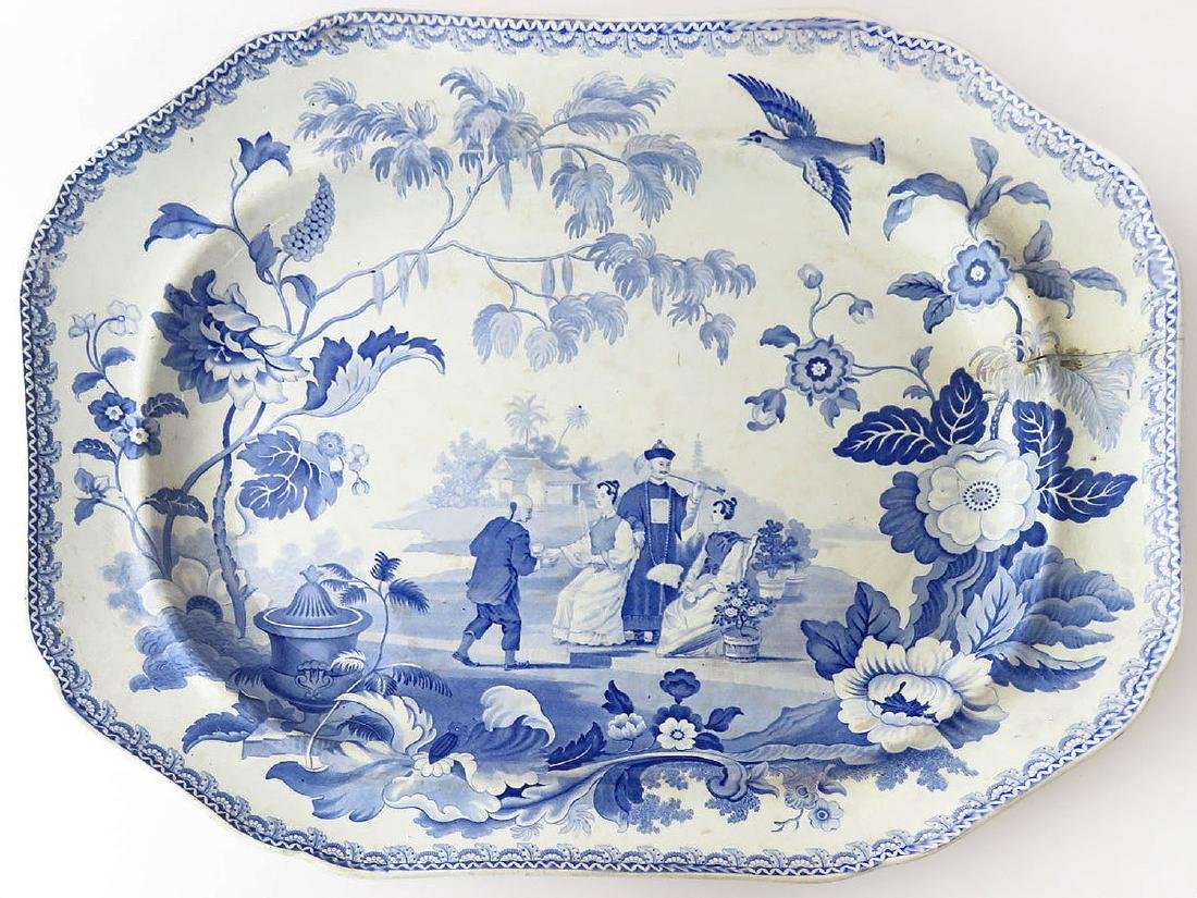 ENGLISH STAFFORDSHIRE MANDARIN OPAQUE PLATTER 19TH C.