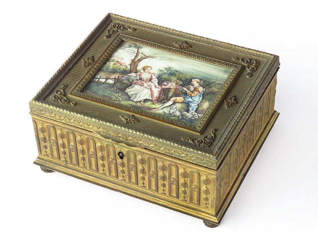FRENCH GILT BRONZE SEWING BOX W/ H/P PANEL 19TH C.