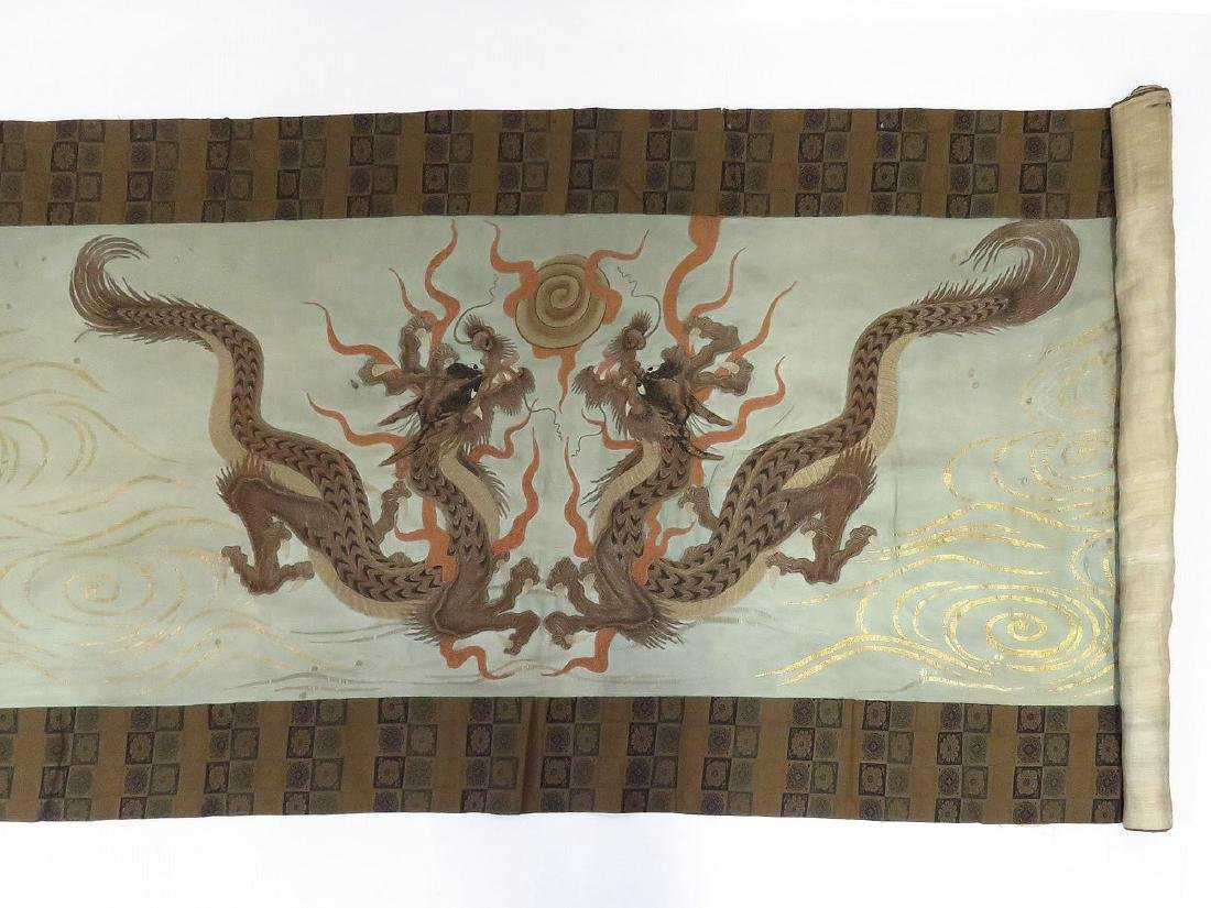 JAPANESE EMBROIDERED PANEL SIGNED/GOLDEN DRAGON 19TH C.