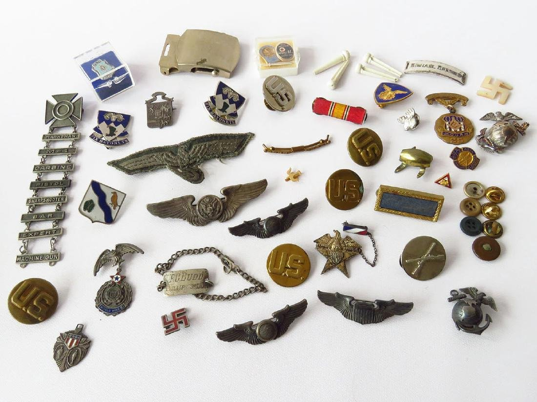 LOT ASSORTED MILITARY PINS INCL. WWII GERMAN