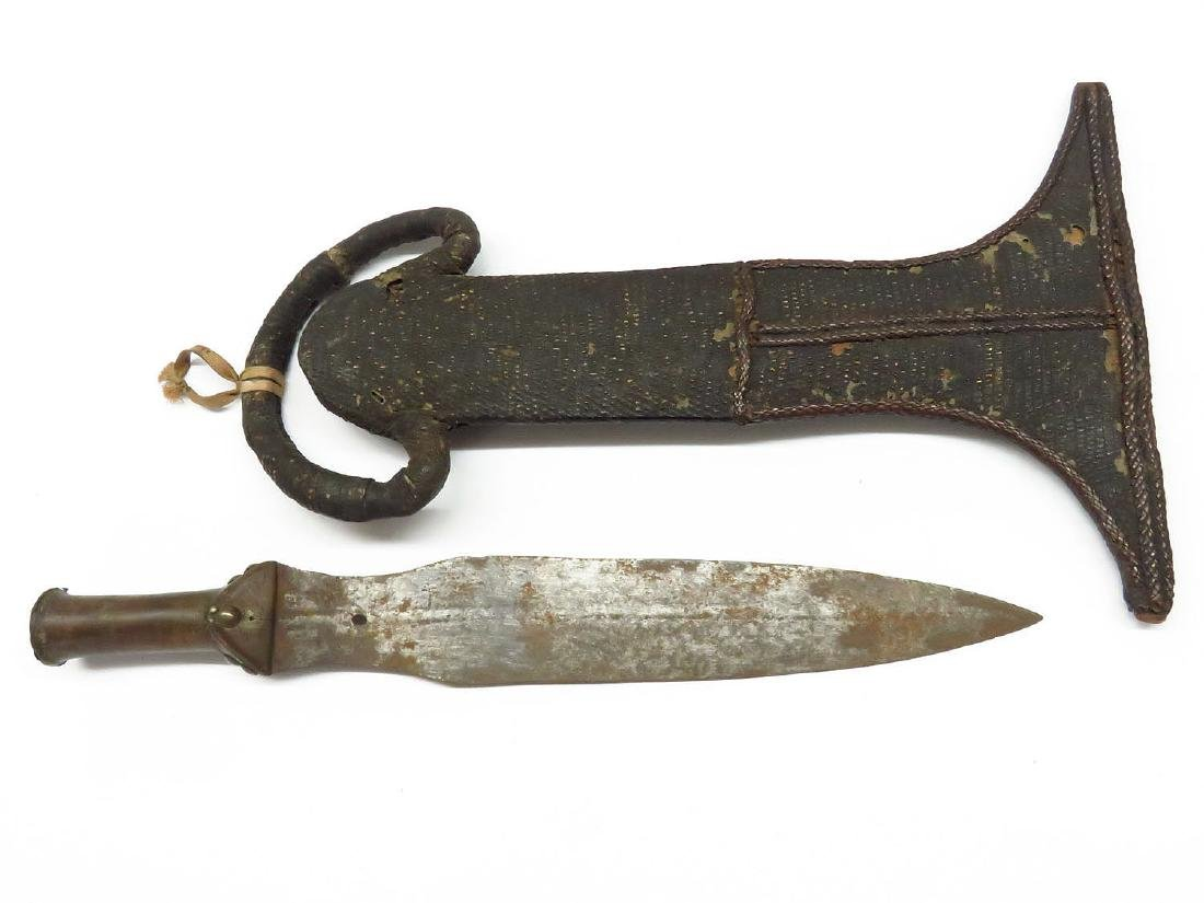 AFRICAN FROG SKIN DAGGER WITH SCABBARD 19/20TH C.