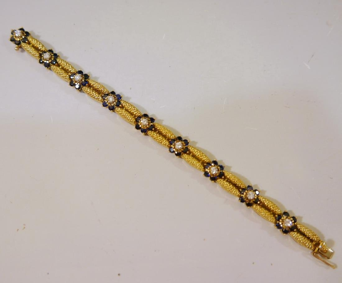BEAUTIFUL DIAMOND SAPPHIRE 18K GOLD BRACELET