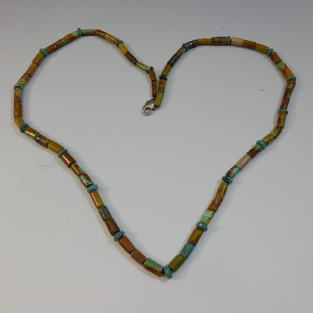 ANTIQUE NATURAL TURQUOISE BARREL BEADS NECKLACE