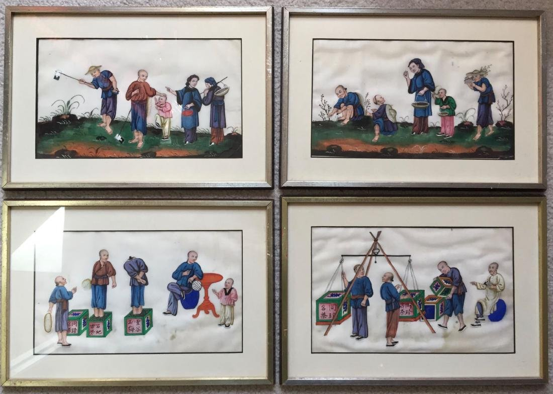 FOUR OF VINTAGE CHINESE RICE PAPER PAINTINGS