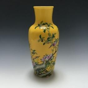 A YELLOW-GROUND ENAMELLED FLOWER VASE, YONGZHENG MARK