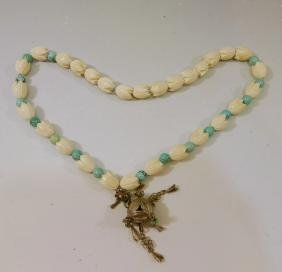 ANTIQUE CHINESE CARVED BEADS AND TURQUOISE NECKLACE