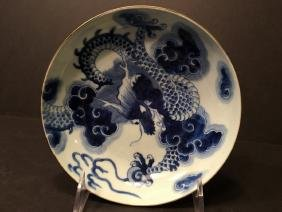ANTIQUE Chinese Blue and White Dragon Soup Bowl, Kangxi