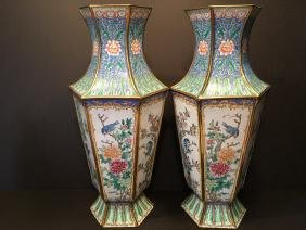 ANTIQUE Huge Pair Chinese Brass Enamel Vases, late 19th