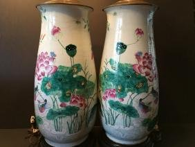 ANTIQUE Chinese Large Famillie Rose flower Vase Lamps,