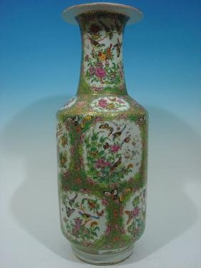 "ANTIQUE Large Chinese Rose Medallion Vase, 24"" H, 19th"