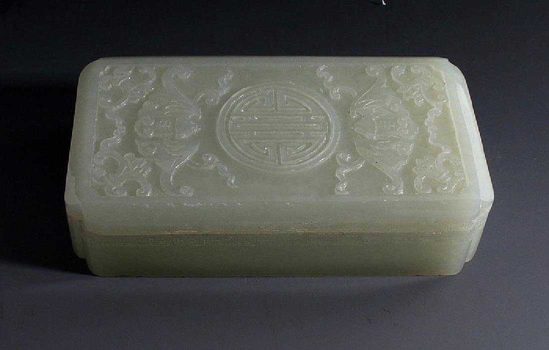 ANTIQUE Large Chinese White Jade Box with carvings,