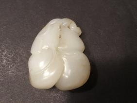 ANTIQUE Large Chinese White Jade Pendant with double