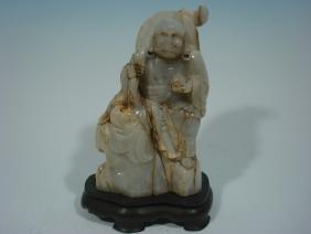 "ANTIQUE Chinese  White Jade Buddha Lohan, 19th C. 10"""