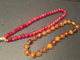 """OLD Large Chinese Amber and Gemstone necklaces, 17"""""""