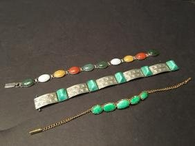 ANTIQUE Chinese Green Jade, Gold Silver Bracelets (3