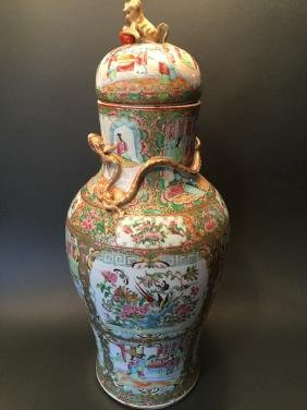 ANTIQUE Chinese Rose Medallion Covered Jar Urn, 25 1/2""