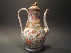 ANTIQUE Chinese Rose Medallion Teapot, early 19th C