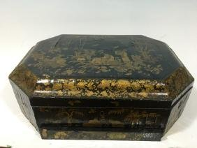 ANTIQUE Chinese Large Lacquer wood Box, 18th Century,