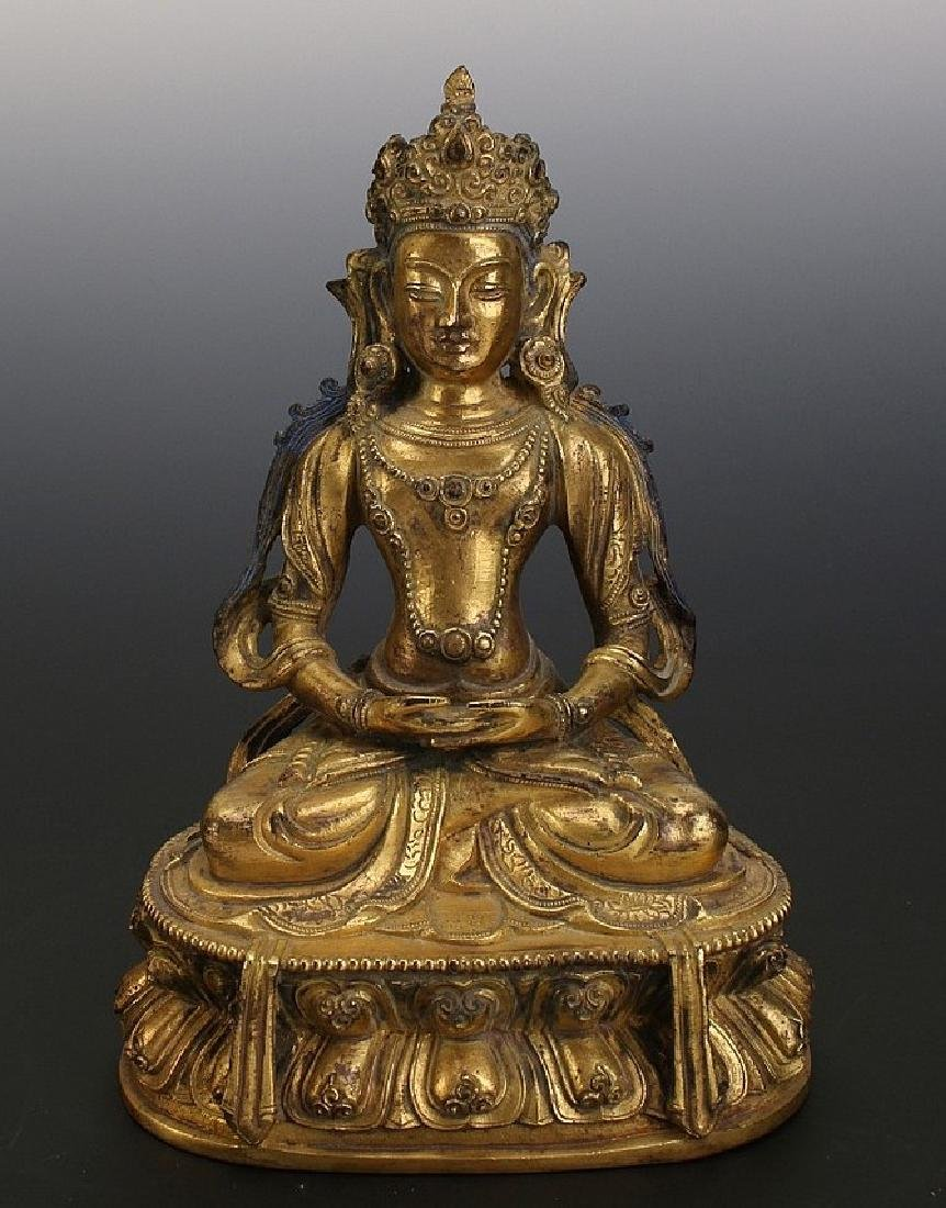 ANTIQUE Chinese Ming Dynasty Gilt Bronze Buddha (AD
