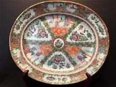 "ANTIQUE Chinese Rose Medallion Platter, 18"" x 15 1/2"""