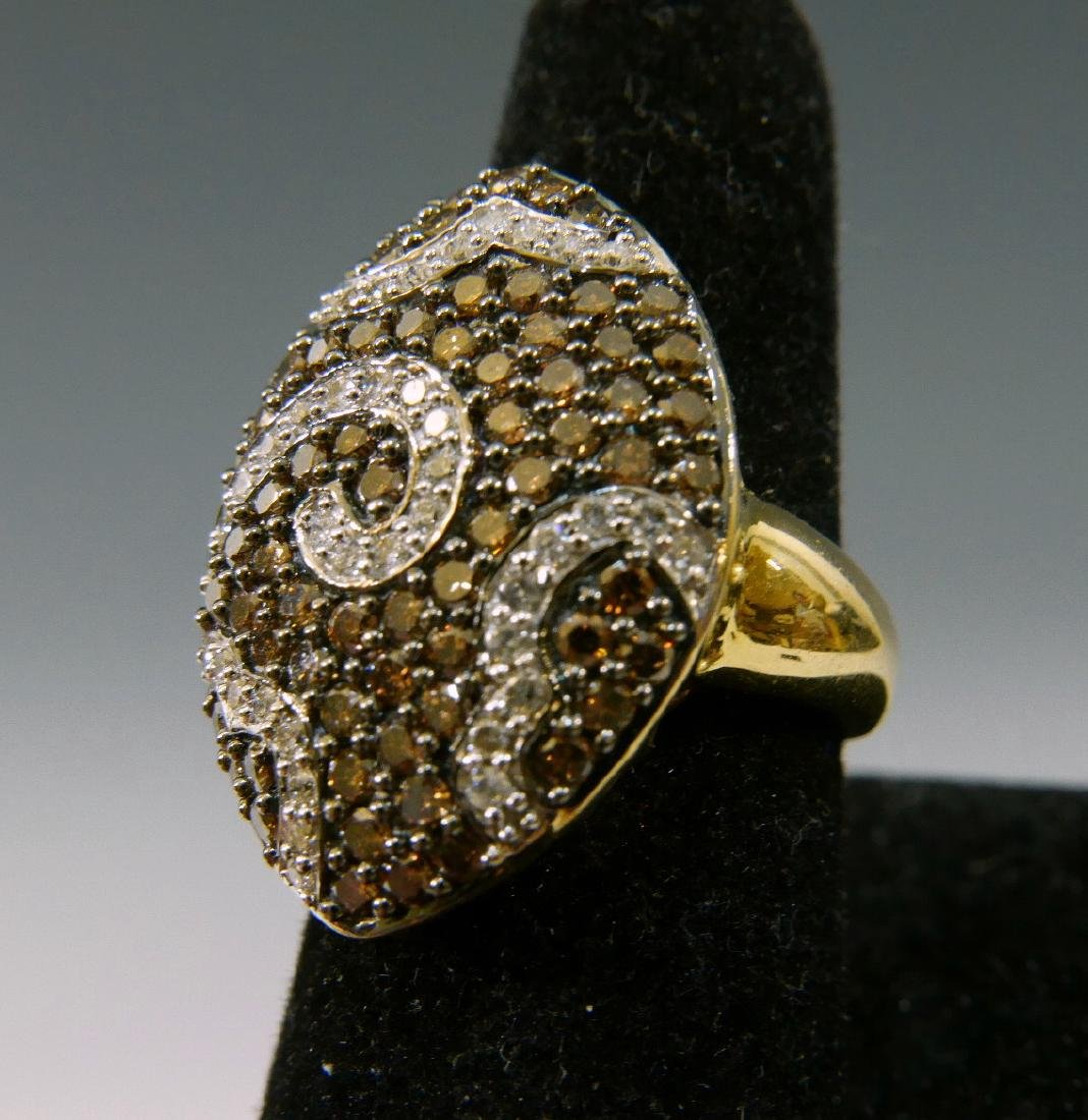 14K GOLD COGNAC & WHITE DIAMOND RING
