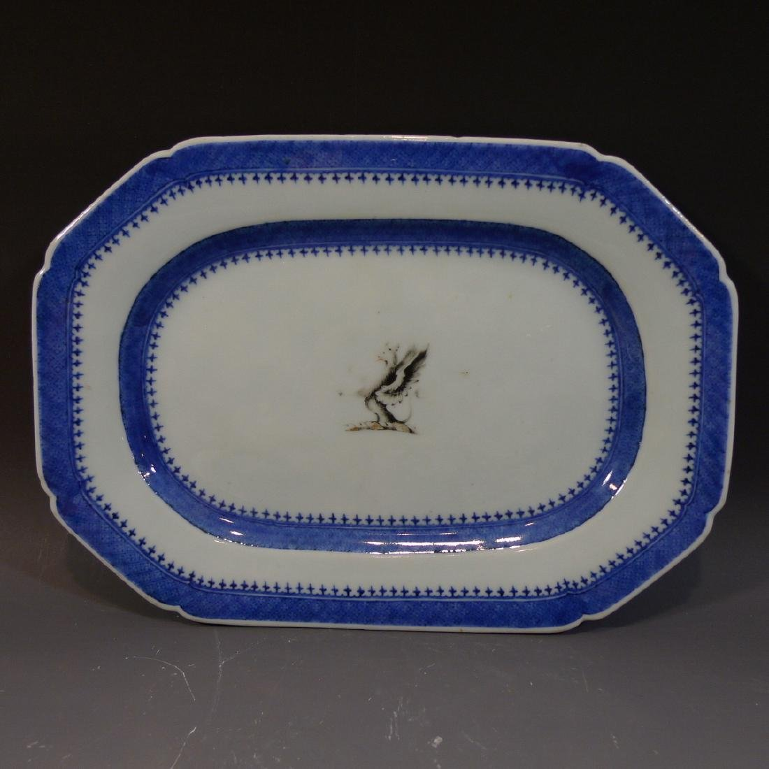 CHINESE ANTIQUE ARMORIAL PORCELAIN PLATTER - 18TH