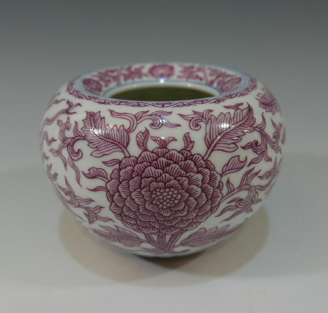 CHINESE ANTIQUE PINK GLAZED PORCELAIN WATER POT -