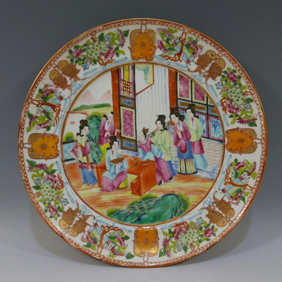CHINESE ANTIQUE FAMILLE ROSE PORCELAIN PLATE - 19TH
