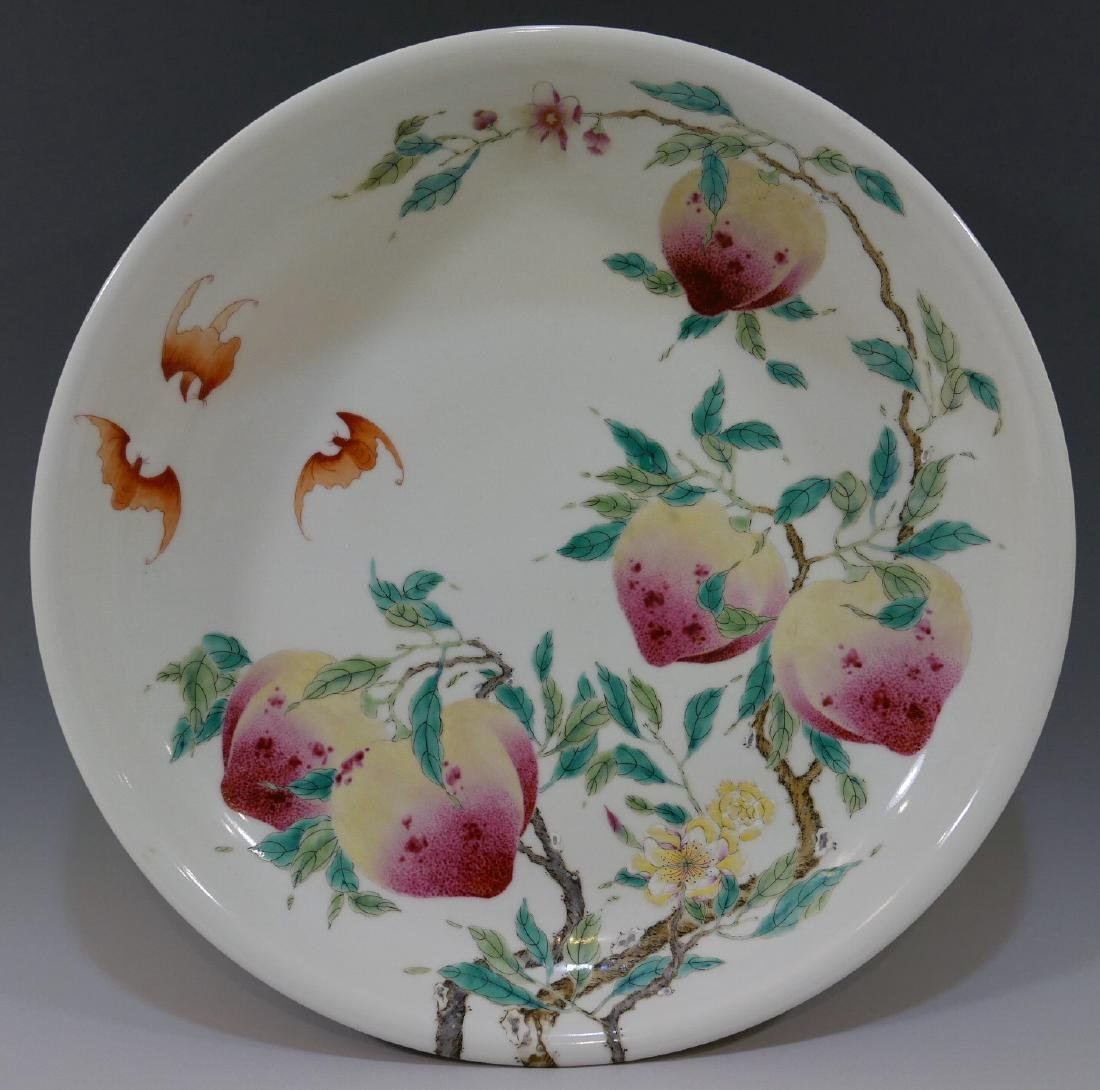 IMPERIAL CHINESE ANTIQUE FAMILLE ROSE PEACH CHARGER -