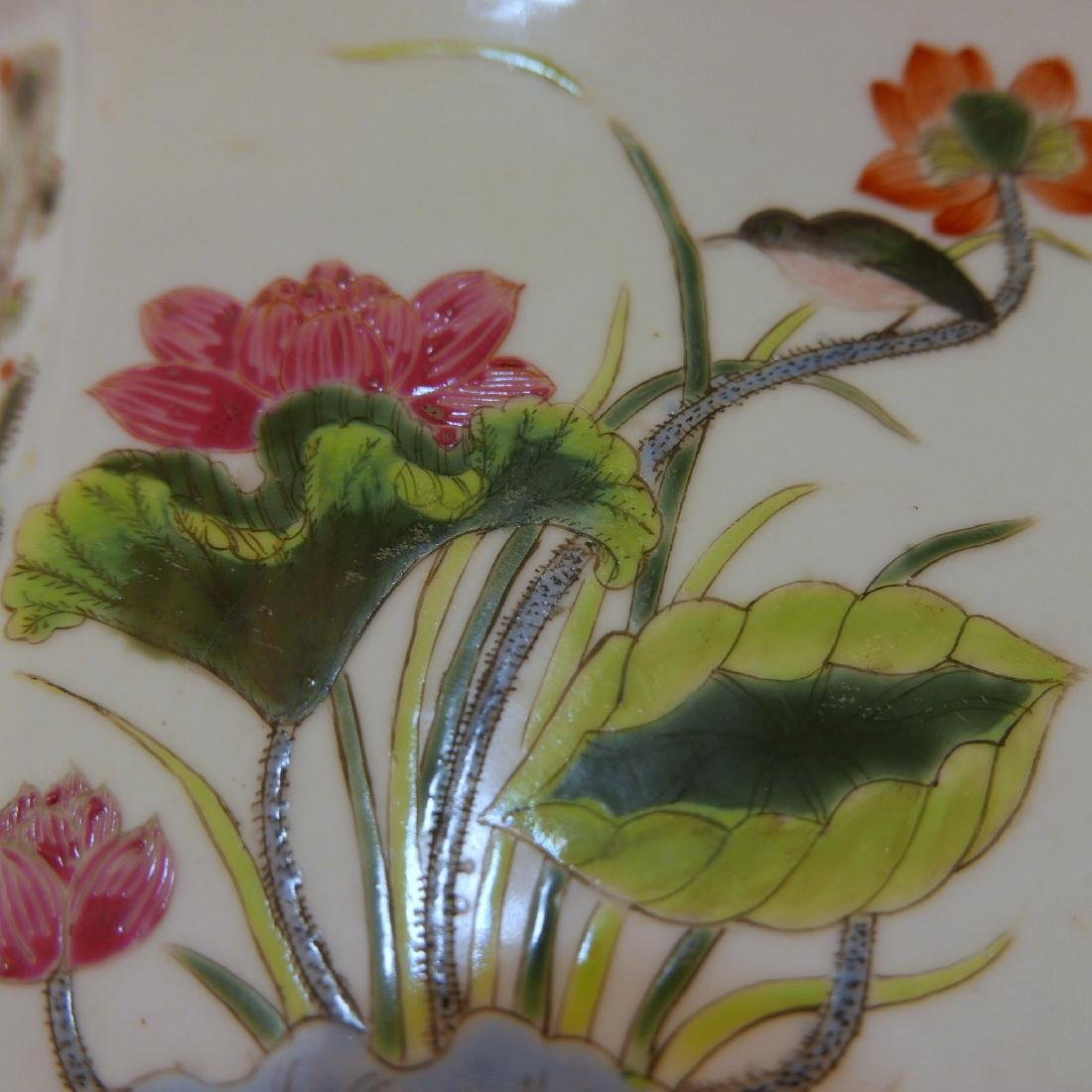 ANTIQUE CHINESE FAMILLE ROSE PORCELAIN JARDINIERE. 19TH - 8