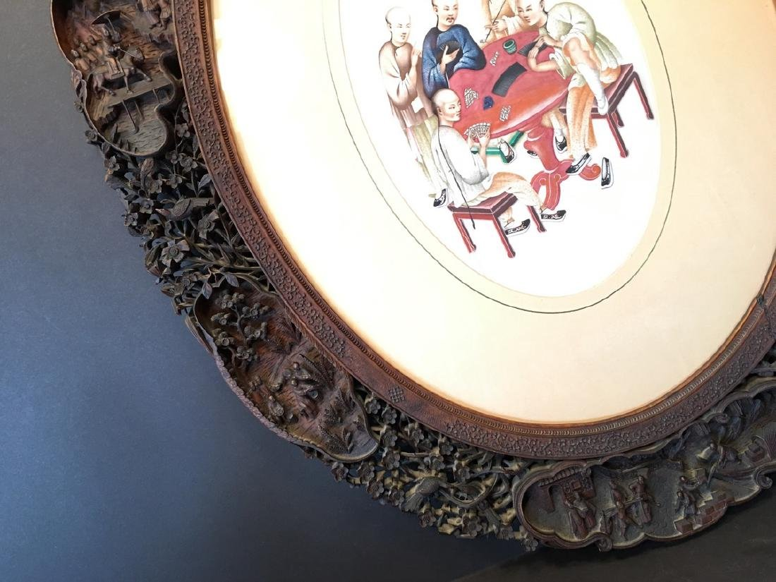ANTIQUE Important Chinese Wood Carved Frame with Five - 2