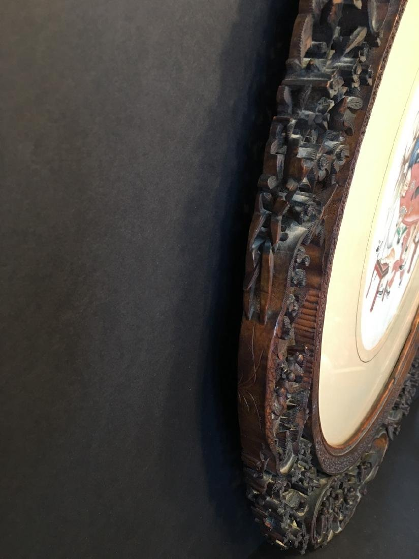 ANTIQUE Important Chinese Wood Carved Frame with Five - 3