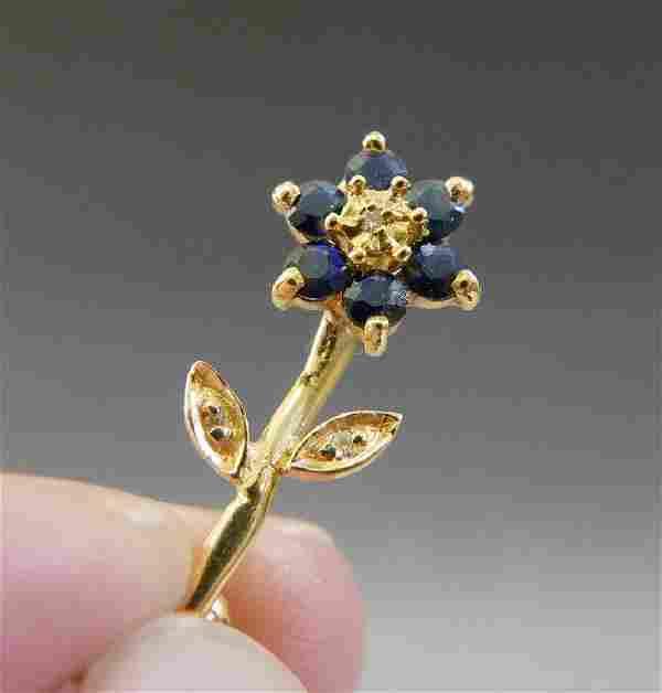 14K GOLD DIAMOND & SAPPHIRE FLOWER PIN