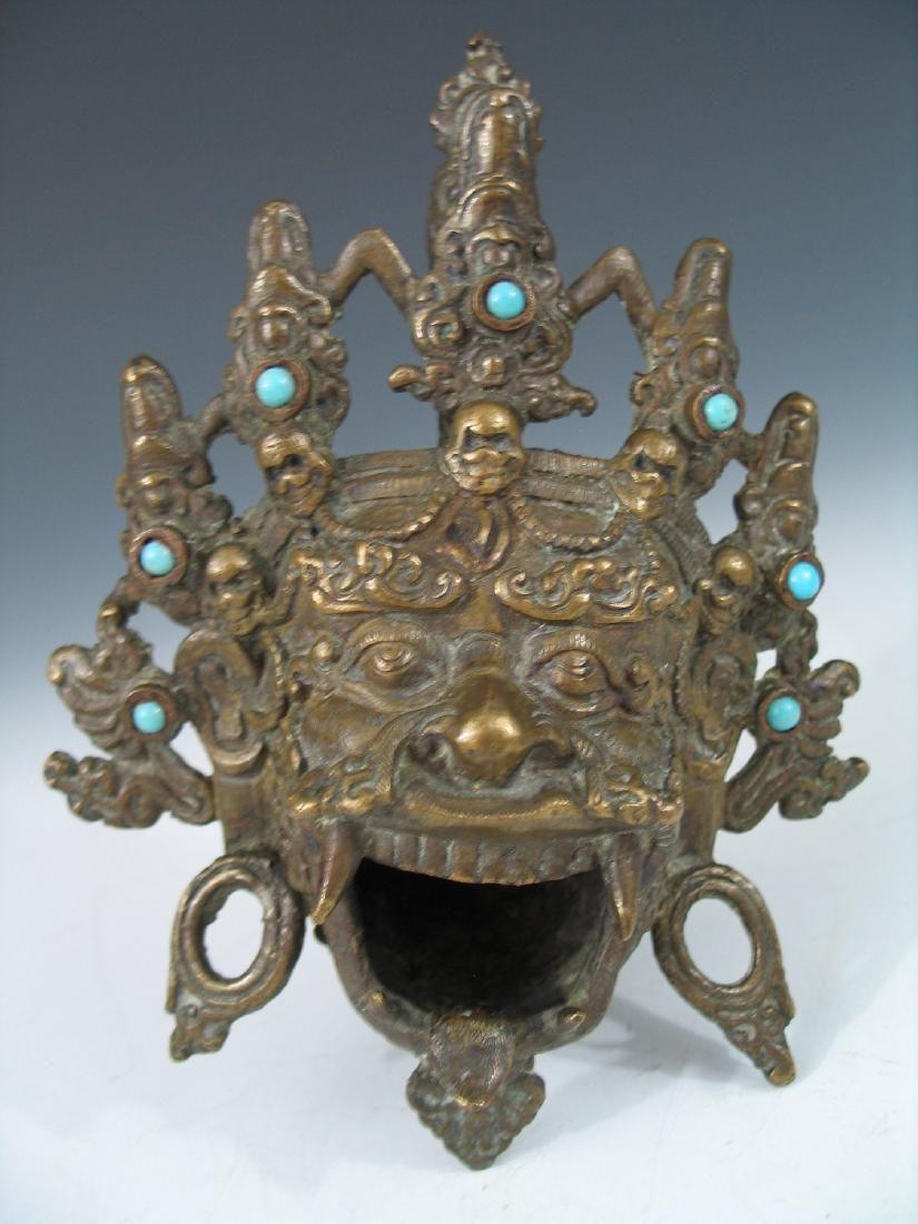 Antique Chinese Bronze Head Incense Burner.