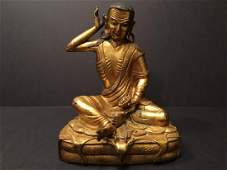 "ANTIQUE Chinese Ming Gilt Bronze Buddha 8"" H, Ming."