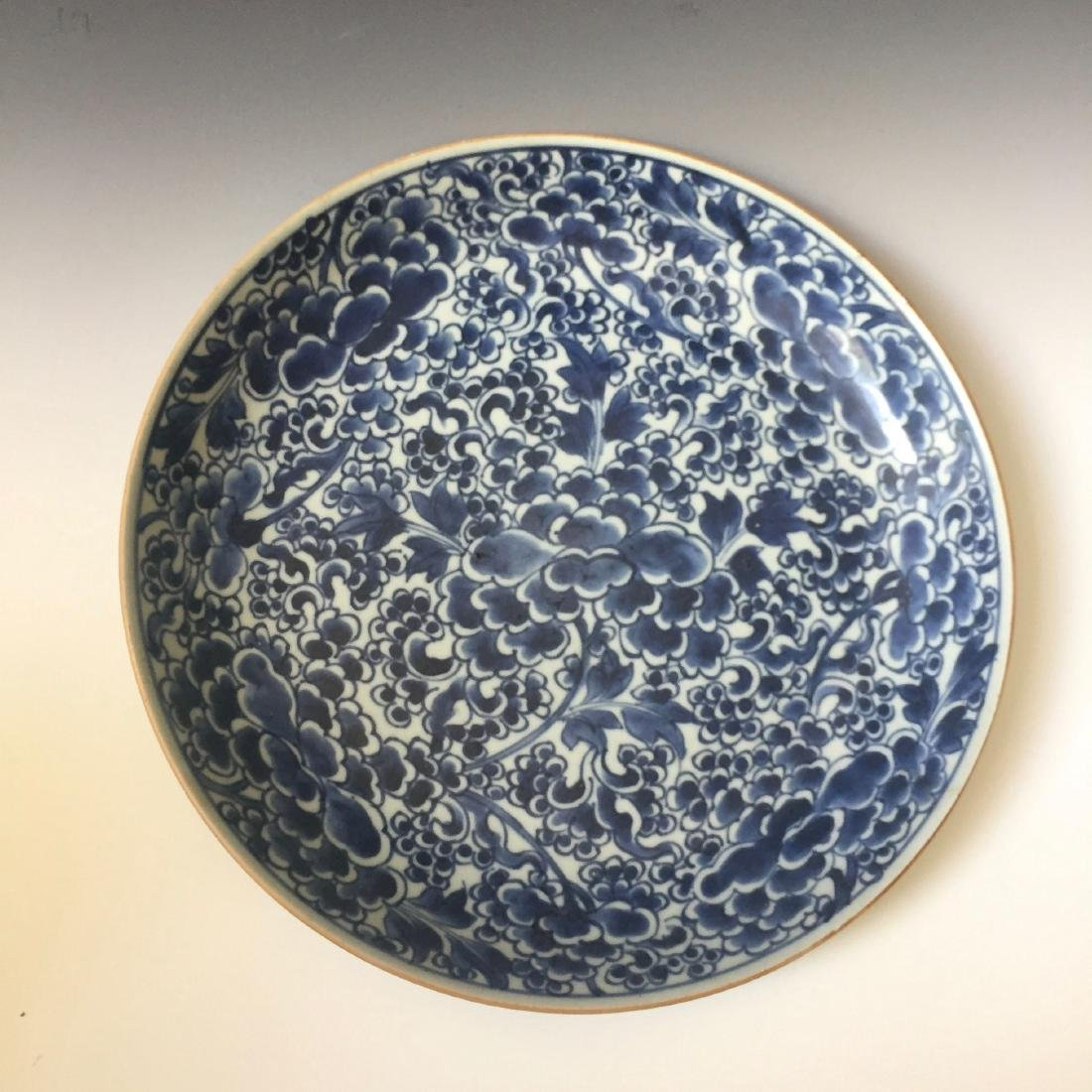 A CHINESE ANTIQUE BLUE AND WHITE PORCELAIN DISH,18C.